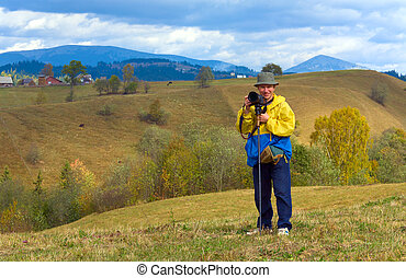 automne, montagne, heureux, fond, photographe