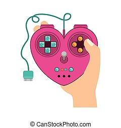 Isolated heart gamepad design - Heart gamepad icon....
