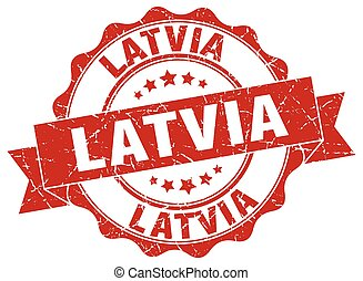 Latvia round ribbon seal