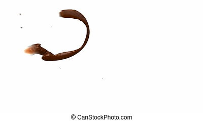 Fast Hot chocolate flow over white background