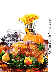 Festive Thanksgiving Dinner - Thanksgiving turkey dinner...
