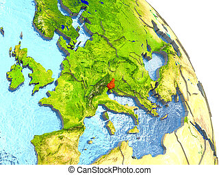 Slovenia on Earth in red - Slovenia in red with surrounding...