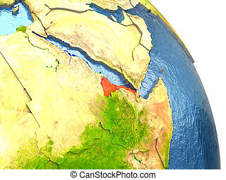Eritrea on Earth in red - Eritrea in red with surrounding...