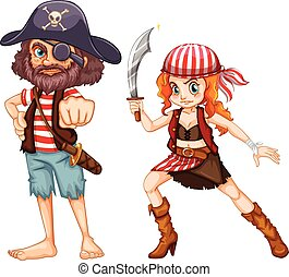 Pirate crews with weapons illustration