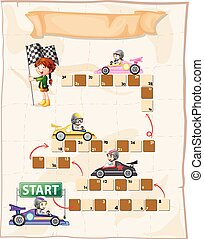 Boardgame template with kids in racing cars illustration