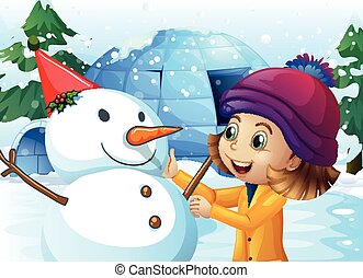 Cute girl and snowman in front of igloo illustration