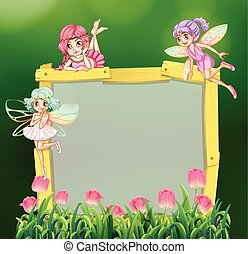 Frame template with three fairies