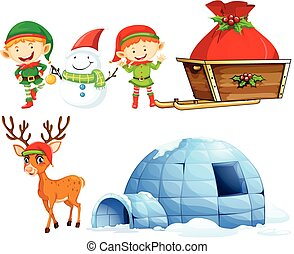 Christmas characters and igloo illustration