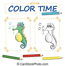 Coloring template with cute seahorse