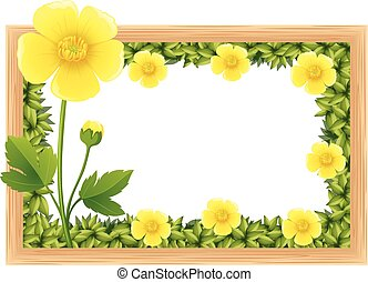 Yellow buttercup flowers as frame design illustration