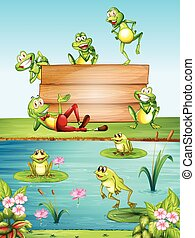 Wood sign with many frogs by the pond illustration