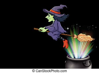 Witch flying on magic broom illustration