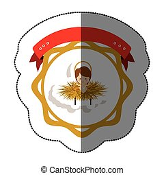 Christmas manger concept icon vector illustration graphic...