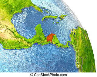 Honduras on Earth in red - Honduras in red with surrounding...