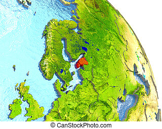 Estonia on Earth in red - Estonia in red with surrounding...