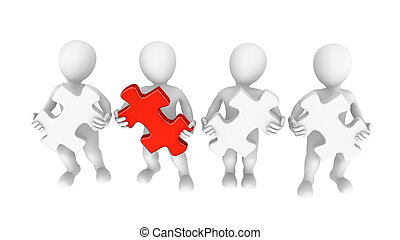 3d people with jigsaw puzzle, teamwork