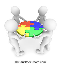 3d people with puzzle, teamwork concept