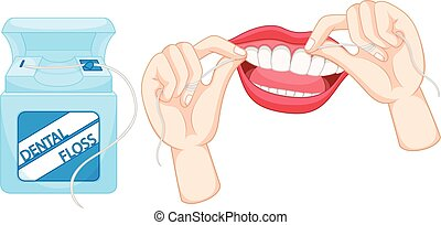 Dental floss and how to use it illustration