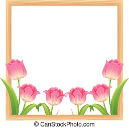 Frame template with pink tulip flowers