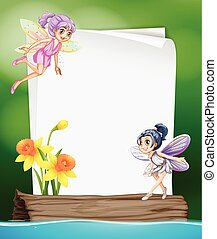 Paper template with two fairies flying