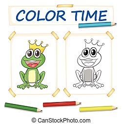 Coloring template with frog prince illustration