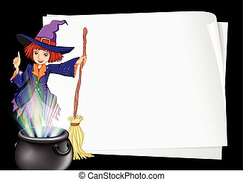 Paper template with witch and pot illustration