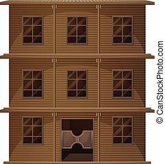 Building made of wood in western style