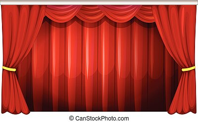 Red curtains in background