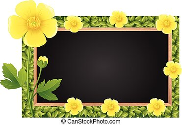 Border template with yellow buttercups illustration