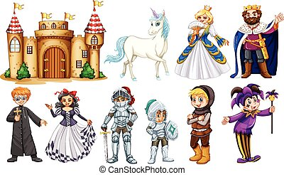 Different characters in fairy tales illustration