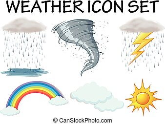 Weather icons with different climate