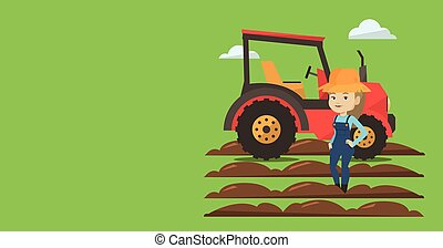 Agricultural banner with space for text. Vector flat design....