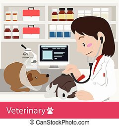 Veterinary healthcare vector illustraion
