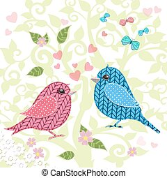 knitted birds on tree for your design