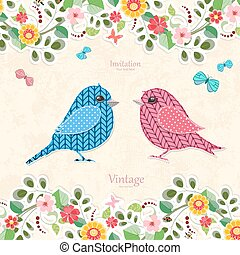 invitation card  with couple of sweet birds for your design