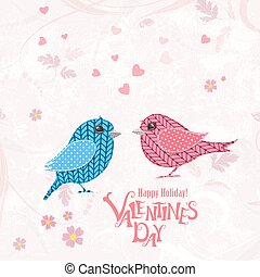 vintage invitation card  with couple of knitted birds for your d