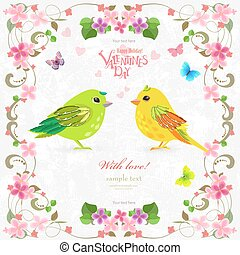 retro decoration card with couple of cute birds for your design