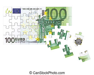 Euro banknote ( puzzle ) isolated on white background. 3d rendered illustration.
