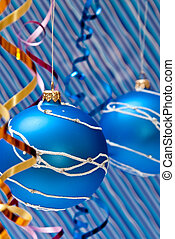 Blue balls - Christmas decoration from two blue balls on...