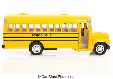 Toy School Buss - Old yellow toy school bus. Worn with use....