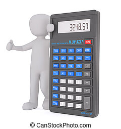 Optimistic man with calculator concept