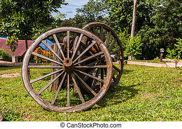 Old fort Bluff Wagon wooden Wheel as decoration at garden.