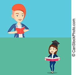 Two educational banners with space for text. Vector flat...