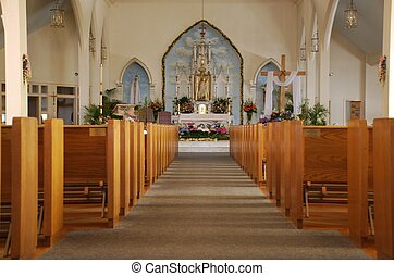 A Catholic Church Sanctuary - A bright, beautiful Catholic...