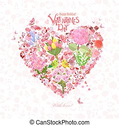 romantic floral heart with couple of cute birds for your design