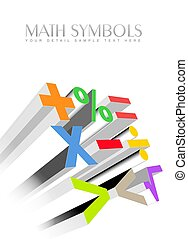 3d colorful math symbols - An illustration of 3d colorful...