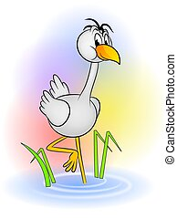 Crane cartoon - An illustration of cute crane bird cartoon