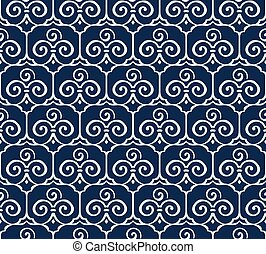 Seamless Blue Japanese Background Trefoil Curve Spiral Cross...