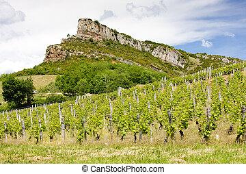 Solutre Rock, Burgundy, France - La Roche de Solutre with...