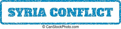 Syria Conflict Rubber Stamp - Blue rubber seal stamp with...